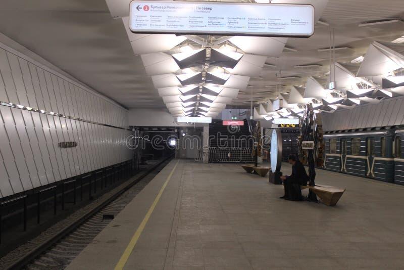Νέοι σταθμοί της κόκκινης γραμμής του μετρό της Μόσχας Σταθμός Olkhovaja στοκ εικόνες με δικαίωμα ελεύθερης χρήσης