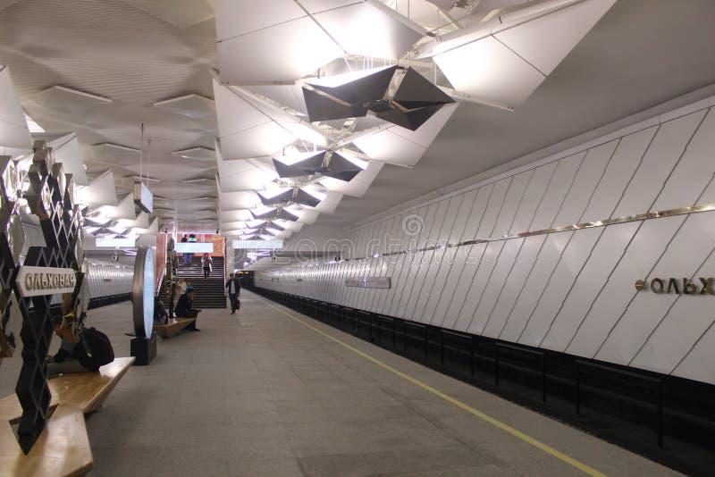 Νέοι σταθμοί της κόκκινης γραμμής του μετρό της Μόσχας Σταθμός Olkhovaja στοκ φωτογραφία