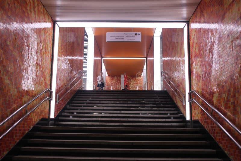 Νέοι σταθμοί της κόκκινης γραμμής του μετρό της Μόσχας Σταθμός Olkhovaja στοκ φωτογραφίες