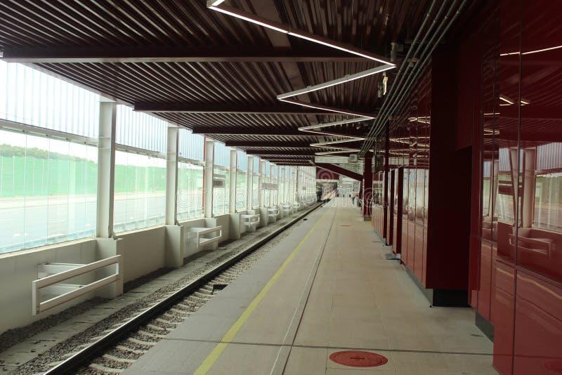 Νέοι σταθμοί της κόκκινης γραμμής του μετρό της Μόσχας Σταθμός Prokshino στοκ εικόνες