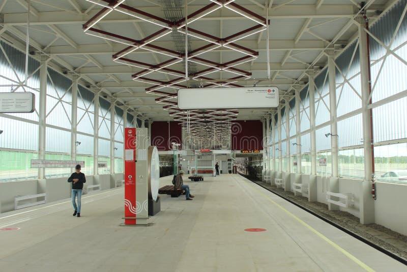 Νέοι σταθμοί της κόκκινης γραμμής του μετρό της Μόσχας Σταθμός Prokshino στοκ φωτογραφίες