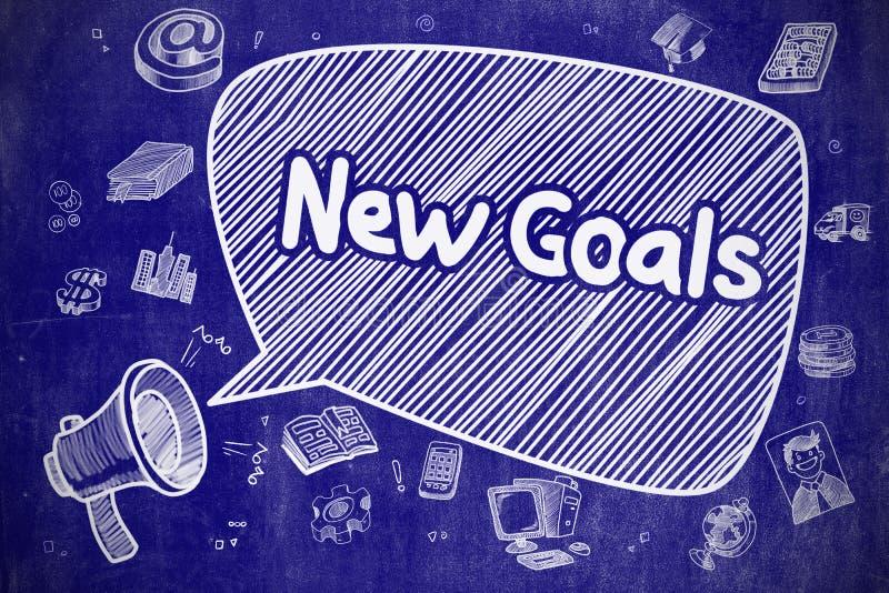 Νέοι στόχοι - συρμένη χέρι απεικόνιση στον μπλε πίνακα κιμωλίας ελεύθερη απεικόνιση δικαιώματος