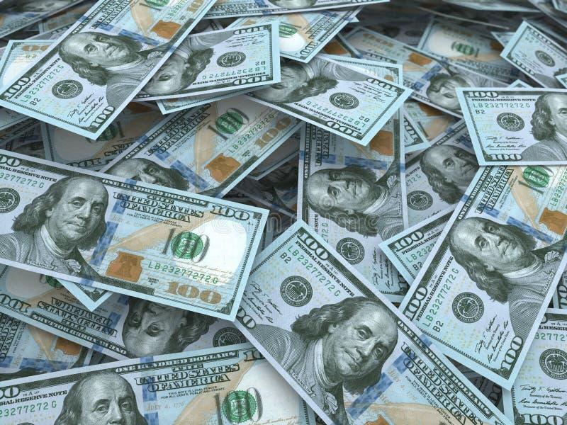 Νέοι σωροί λογαριασμών εκατό δολαρίων διανυσματική απεικόνιση