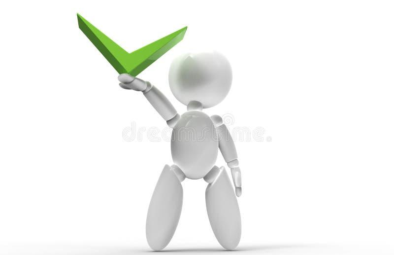 Νέοι τρισδιάστατοι άνθρωποι - πράσινο σημάδι ελέγχου στοκ φωτογραφία με δικαίωμα ελεύθερης χρήσης