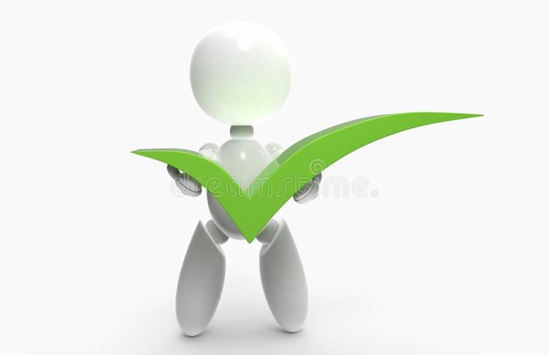 Νέοι τρισδιάστατοι άνθρωποι - πράσινο σημάδι ελέγχου απεικόνιση αποθεμάτων