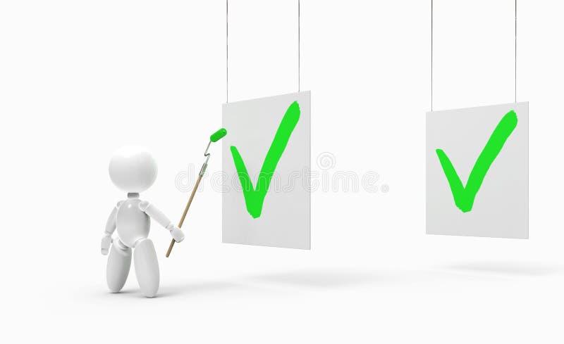 Νέοι τρισδιάστατοι άνθρωποι - πράσινο σημάδι ελέγχου ελεύθερη απεικόνιση δικαιώματος