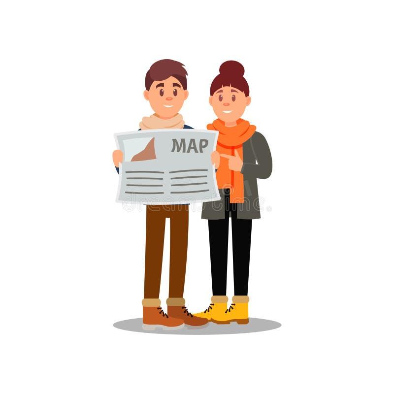 Νέοι τύπος και κορίτσι που εξετάζουν το χάρτη Ζεύγος των τουριστών στις διακοπές Οικογενειακό ταξίδι Επίπεδη διανυσματική απεικόν απεικόνιση αποθεμάτων
