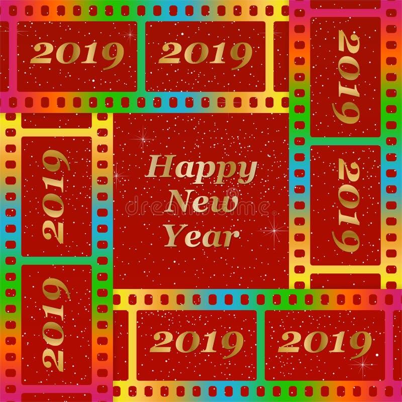 Νέοι χαιρετισμοί έτους για το 2019 με τη ζωηρόχρωμη κενή ταινία και το φωτογραφικό παράθυρο με τη χρυσή επιγραφή καλή χρονιά και  ελεύθερη απεικόνιση δικαιώματος