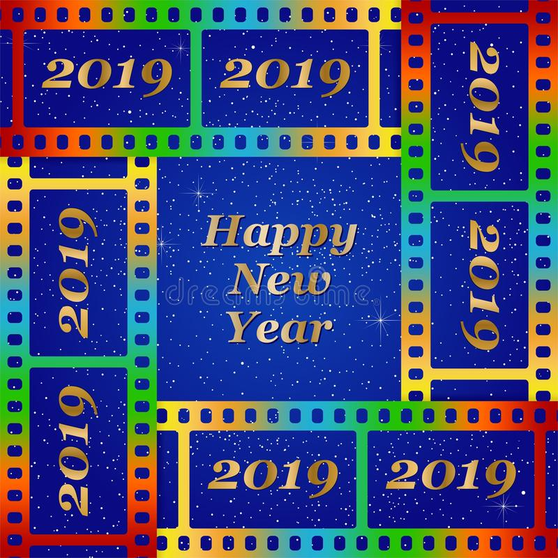 Νέοι χαιρετισμοί έτους για το 2019 με τη ζωηρόχρωμη κενή ταινία και το φωτογραφικό παράθυρο με τη χρυσή επιγραφή καλή χρονιά και  απεικόνιση αποθεμάτων