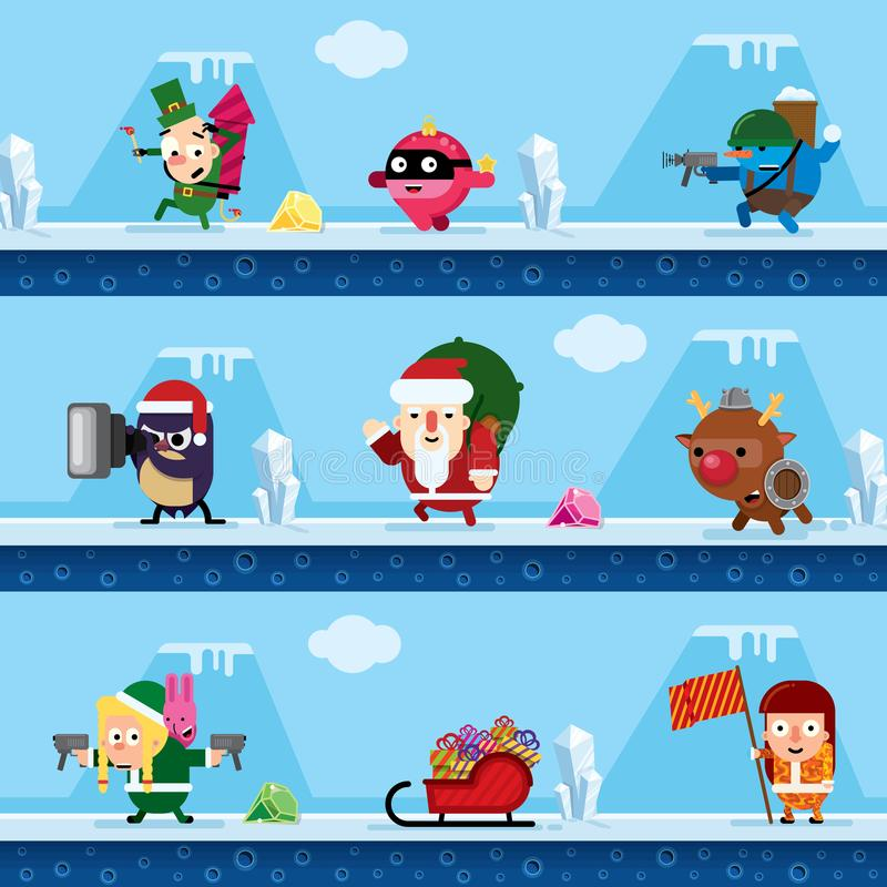Νέοι χαρακτήρες παιχνιδιών έτους ` s στο ύφος του επιπέδου ελεύθερη απεικόνιση δικαιώματος