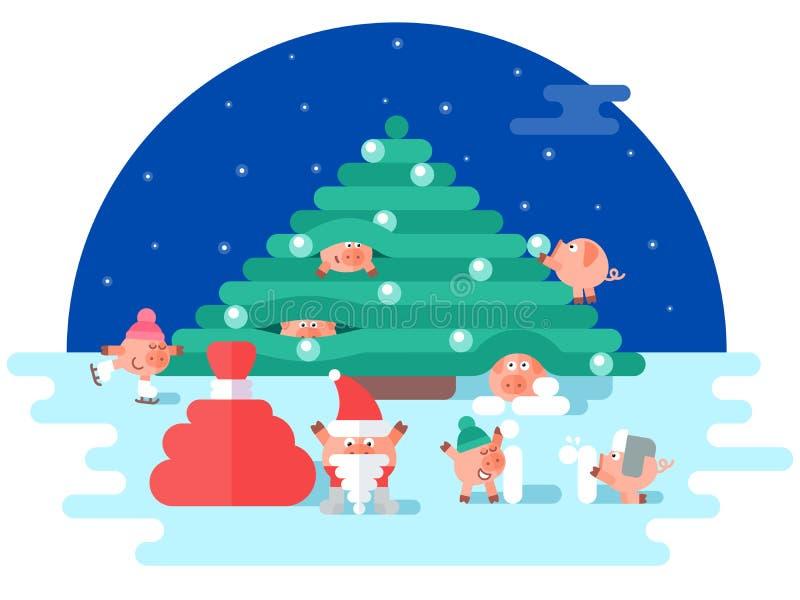 Νέοι χοίροι έτους που παίζουν κοντά στο χριστουγεννιάτικο δέντρο διανυσματική απεικόνιση