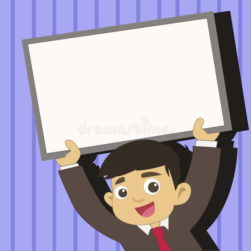 Νέος άνδρας σπουδαστής που ανατρέφει τον κενό πλαισιωμένο πίνακα Χαμογελώντας αγόρι στην εκμετάλλευση ανοδικό κενό Whiteboard δεσ ελεύθερη απεικόνιση δικαιώματος