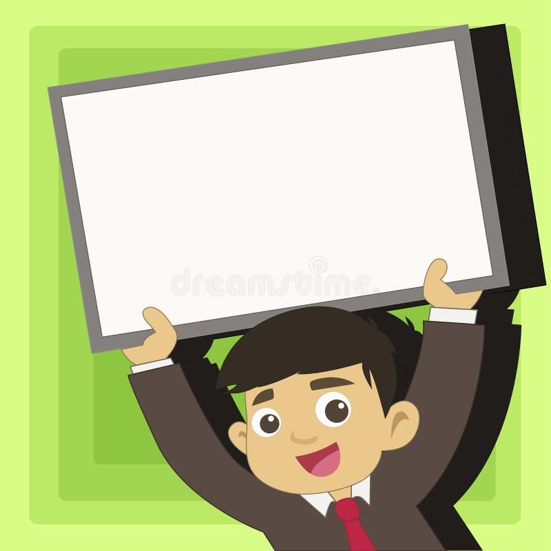 Νέος άνδρας σπουδαστής που ανατρέφει τον κενό πλαισιωμένο πίνακα Χαμογελώντας αγόρι στην εκμετάλλευση ανοδικό κενό Whiteboard δεσ διανυσματική απεικόνιση