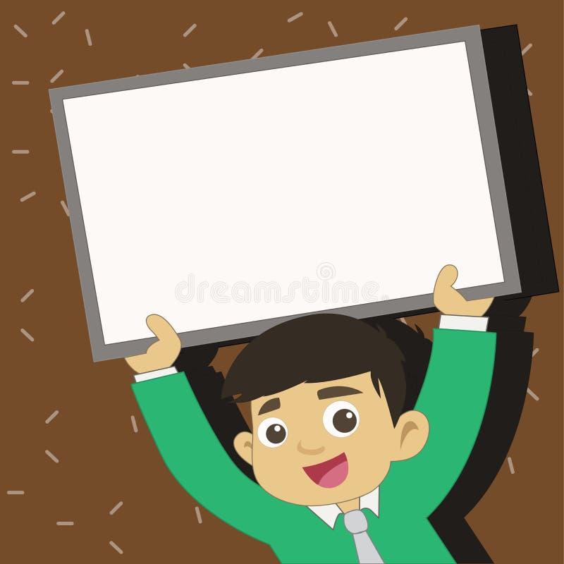 Νέος άνδρας σπουδαστής που ανατρέφει τον κενό πλαισιωμένο πίνακα Χαμογελώντας αγόρι στην εκμετάλλευση ανοδικό κενό Whiteboard δεσ απεικόνιση αποθεμάτων