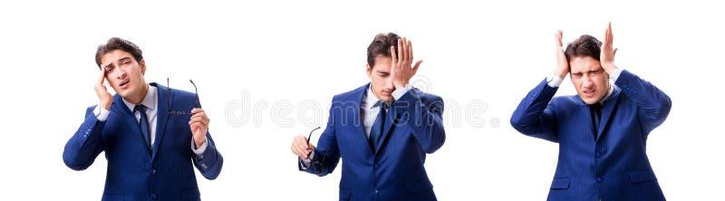 Νέος άρρωστος και δυστυχισμένος επιχειρηματίας που απομονώνεται στο άσπρο υπόβαθρο στοκ εικόνα με δικαίωμα ελεύθερης χρήσης