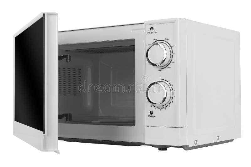 Νέος άσπρος φούρνος μικροκυμάτων που απομονώνεται στο άσπρο υπόβαθρο στοκ φωτογραφία με δικαίωμα ελεύθερης χρήσης