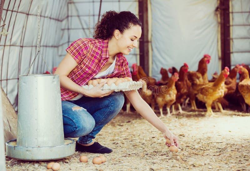 Νέος αγρότης γυναικών που φέρνει τα φρέσκα αυγά στοκ εικόνα