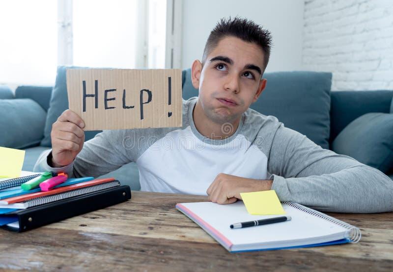 Νέος απελπισμένος σπουδαστής στην πίεση που λειτουργεί και που μελετά κρατώντας ένα σημάδι βοήθειας στοκ εικόνες