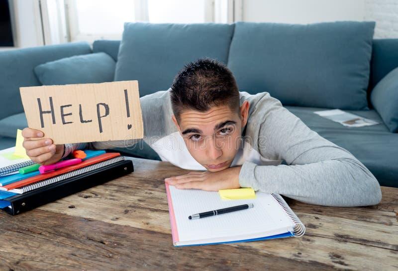 Νέος απελπισμένος σπουδαστής στην πίεση που λειτουργεί και που μελετά κρατώντας ένα σημάδι βοήθειας στοκ φωτογραφίες