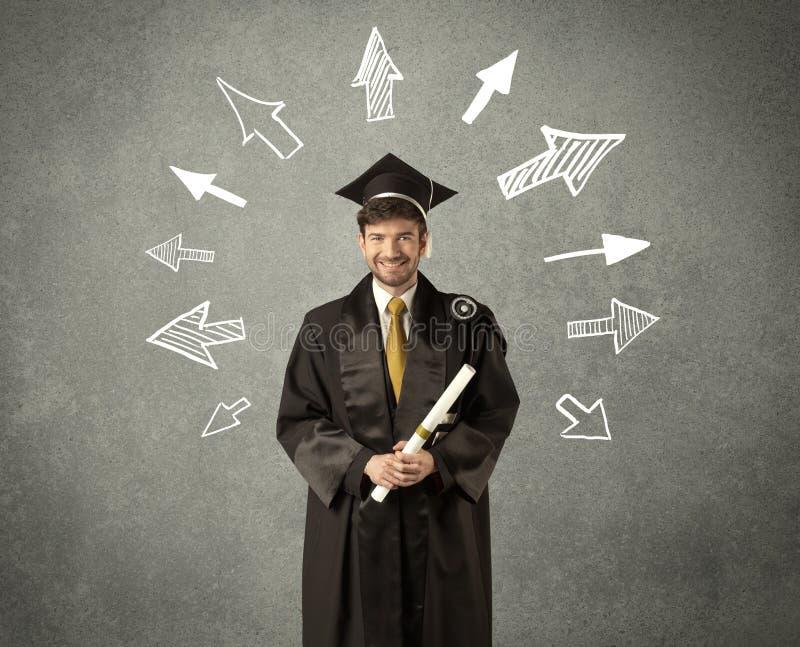 Νέος απόφοιτος φοιτητής με συρμένα τα χέρι βέλη στοκ εικόνες