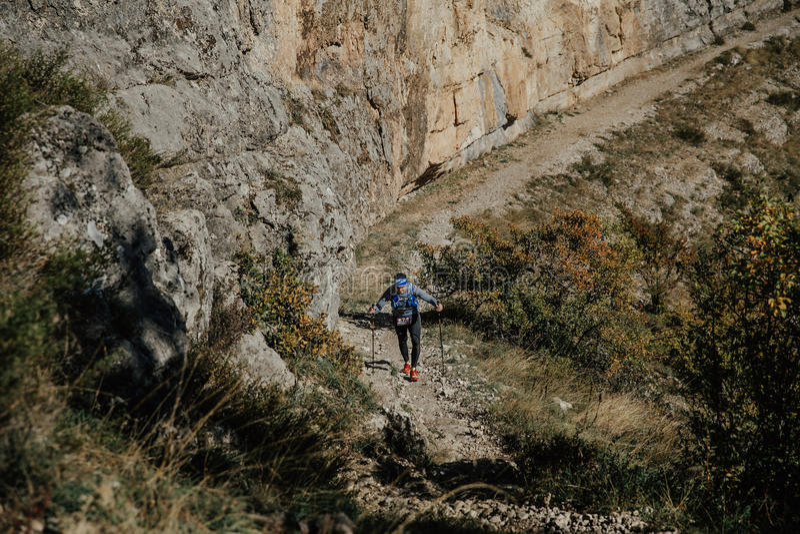 Νέος αρσενικός αθλητής με να περπατήσει τους πόλους στον περίπατο ανηφορικά στον καθαρό απότομο βράχο υποβάθρου στοκ εικόνες