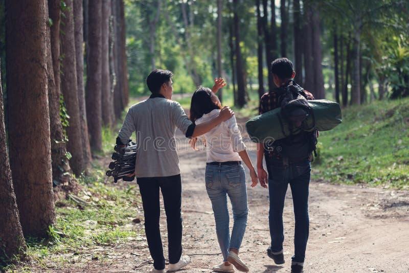 Νέος Ασιάτης - αφρικανικοί τουρίστες στο ταξίδι στο δάσος, θερινή ΕΕ στοκ φωτογραφίες