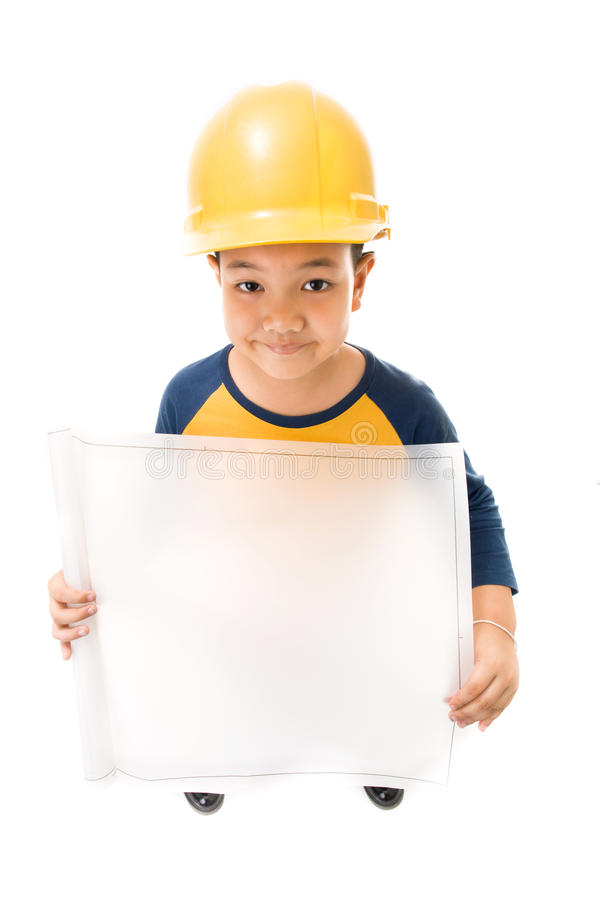 Νέος ασιατικός εξοπλισμός εκμετάλλευσης εργατών οικοδομών παιδιών στοκ εικόνες