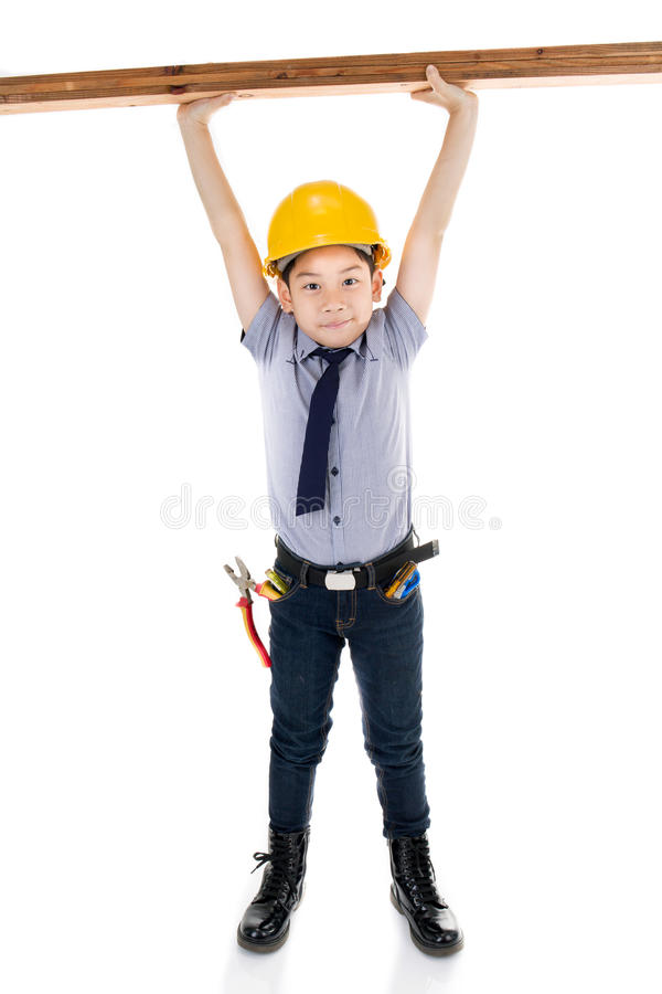 Νέος ασιατικός εξοπλισμός εκμετάλλευσης μηχανικών κατασκευής παιδιών στοκ εικόνα με δικαίωμα ελεύθερης χρήσης