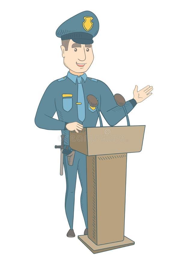Νέος αστυνομικός που δίνει μια ομιλία από το βήμα διανυσματική απεικόνιση