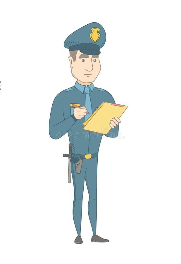 Νέος αστυνομικός στο ομοιόμορφο γράψιμο στην περιοχή αποκομμάτων απεικόνιση αποθεμάτων