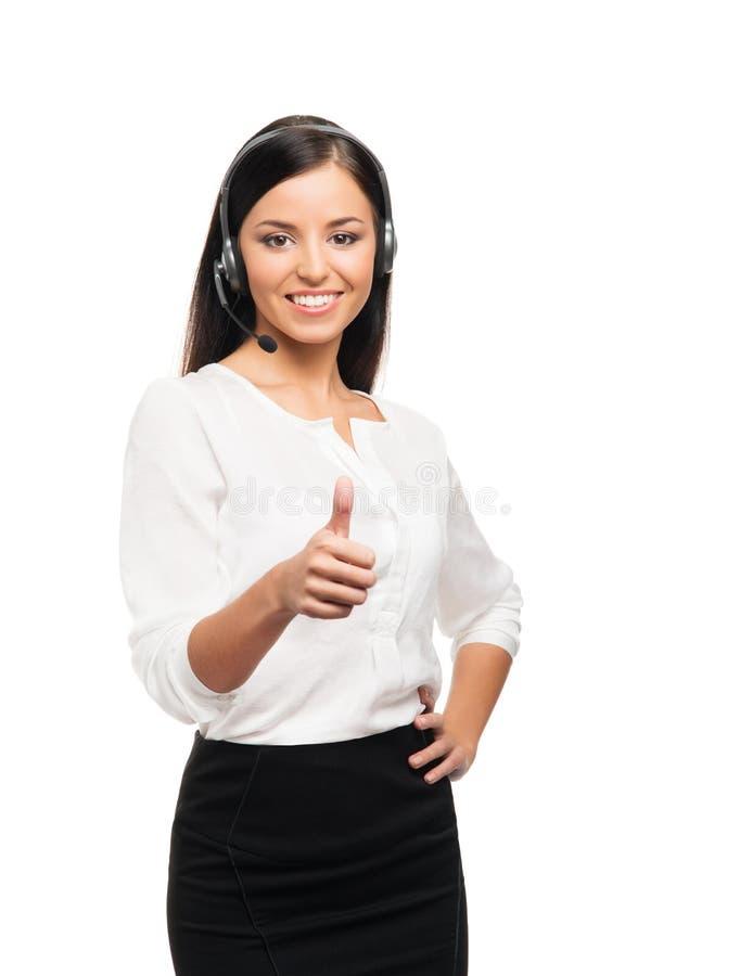 Νέος, βέβαιος και όμορφος χειριστής υποστήριξης πελατών στοκ φωτογραφίες