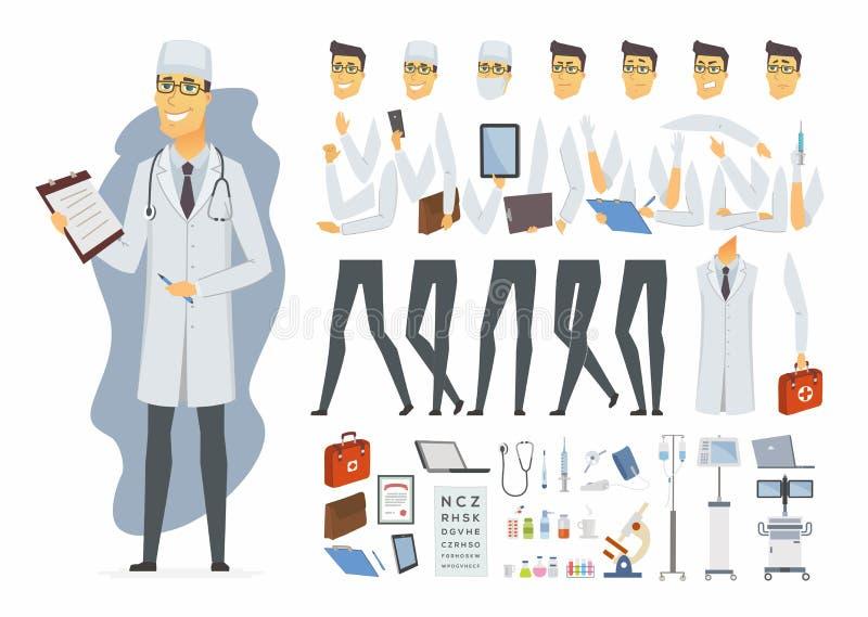 Νέος γιατρός - διανυσματικός κατασκευαστής χαρακτήρα ανθρώπων κινούμενων σχεδίων διανυσματική απεικόνιση
