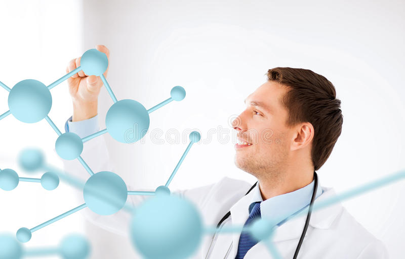 Νέος γιατρός με τα μόρια στοκ φωτογραφίες