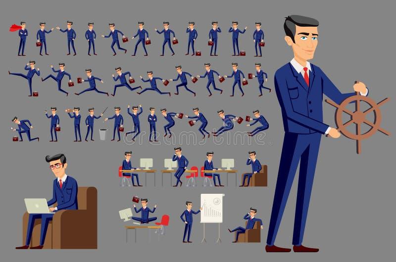 Νέος επιχειρηματίας κινούμενων σχεδίων στο μπλε διάνυσμα κοστουμιών απεικόνιση αποθεμάτων