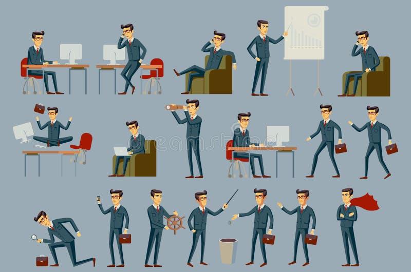 Νέος επιχειρηματίας κινούμενων σχεδίων στο μπλε διάνυσμα κοστουμιών ελεύθερη απεικόνιση δικαιώματος