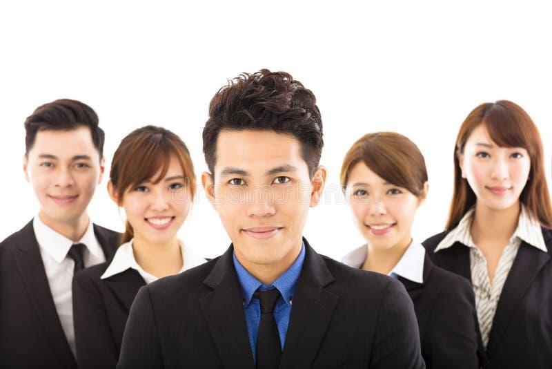 Νέος επιχειρηματίας με την επιτυχή επιχειρησιακή ομάδα στοκ φωτογραφίες