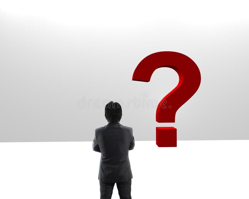 Νέος επιχειρηματίας που εξετάζει τα κόκκινα ερωτηματικά στοκ εικόνα