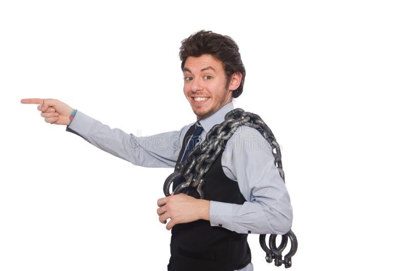 Download Νέος επιχειρηματίας στην αστεία έννοια στο λευκό Στοκ Εικόνες - εικόνα από arras, μανσέτα: 62708194
