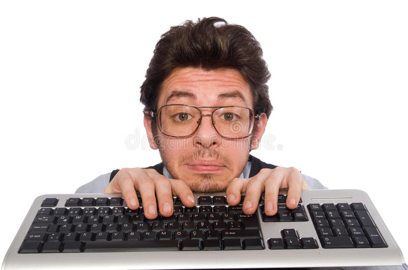 Download Νέος επιχειρηματίας στην αστεία έννοια στο λευκό Στοκ Εικόνα - εικόνα από κοίταγμα, ταραγμένος: 62708213