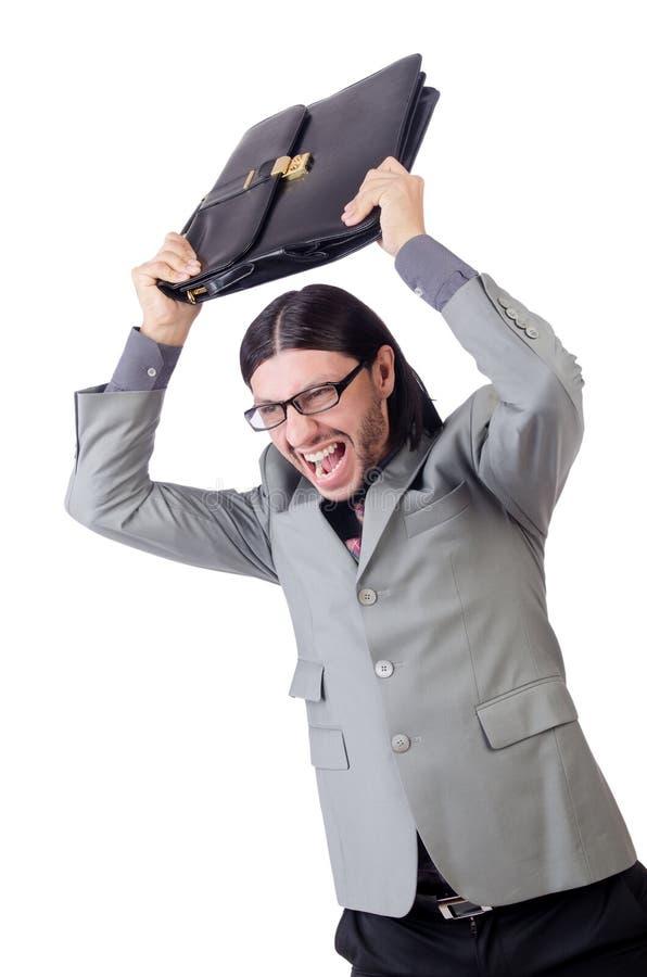 Νέος επιχειρηματίας στον γκρίζο χαρτοφύλακα εκμετάλλευσης κοστουμιών στοκ εικόνες