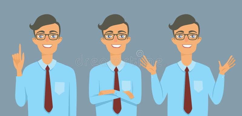 Νέος επιχειρηματίας τύπων nerd διανυσματική απεικόνιση