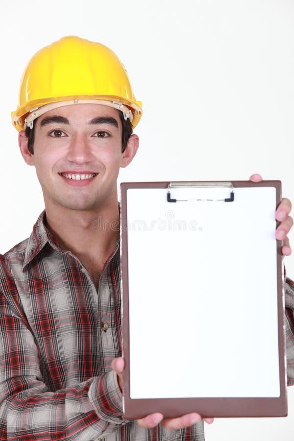 Νέος εργάτης οικοδομών στοκ φωτογραφία