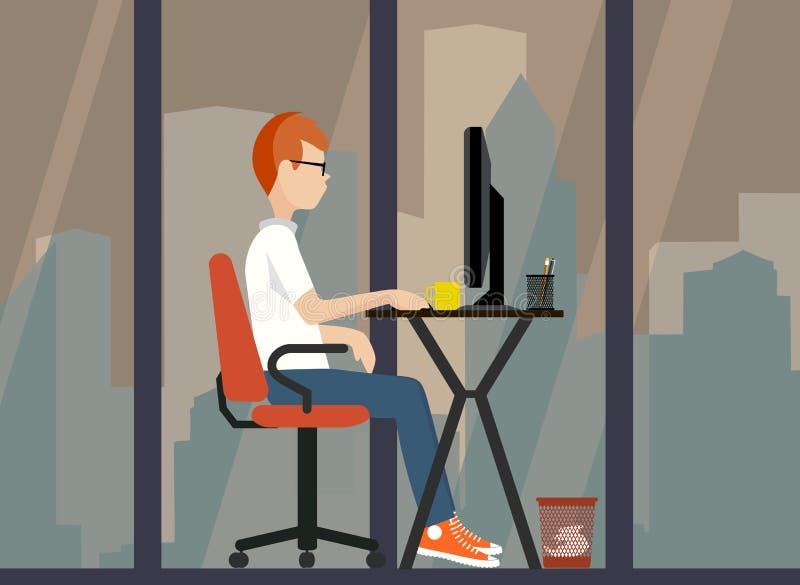 Νέος εργαζόμενος κοντά στον υπολογιστή μια απεικόνιση ελεύθερη απεικόνιση δικαιώματος