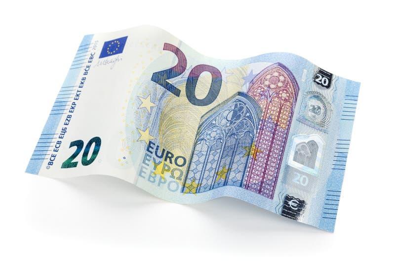 Νέος ευρο- λογαριασμός 20 που απομονώνεται με το ψαλίδισμα της πορείας στοκ εικόνες