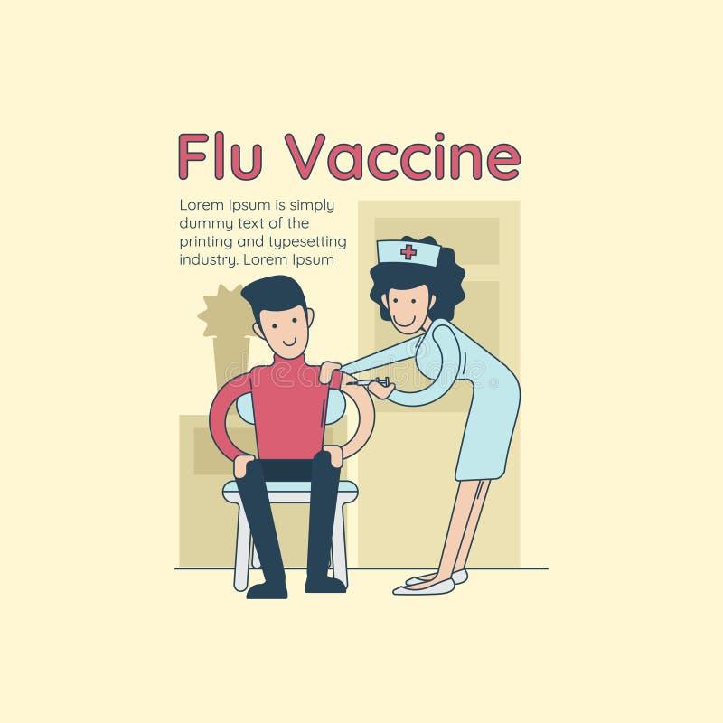 Νέος ευτυχής χαμογελώντας γιατρός που εμβολιάζει ένα άτομο hipster ενάντια στη γρίπη απεικόνιση αποθεμάτων