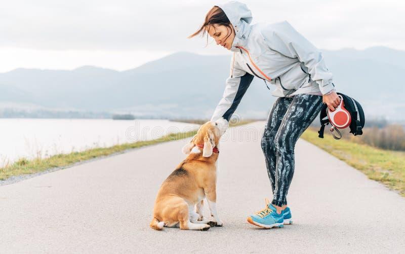Νέος θηλυκός δρομέας που εκπαιδεύει το σκυλί λαγωνικών της πριν από την άσκηση πρωινού cannecross στοκ εικόνες