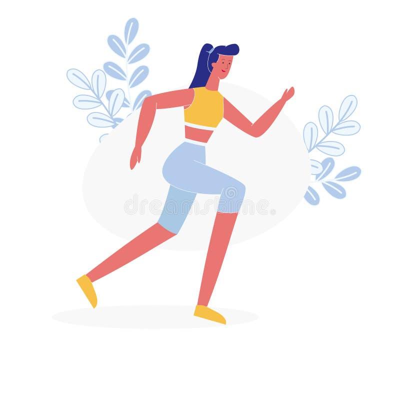 Νέος θηλυκός επίπεδος διανυσματικός χαρακτήρας Jogging αθλητών ελεύθερη απεικόνιση δικαιώματος
