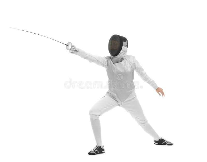 Νέος θηλυκός ξιφομάχος στο άσπρο υπόβαθρο στοκ εικόνες