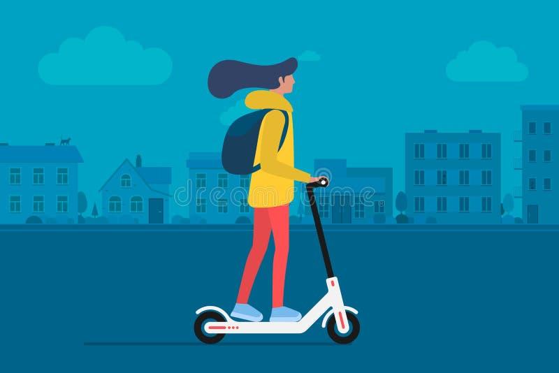 Νέος θηλυκός χαρακτήρας με σακιδίων πλάτης γύρου το σύγχρονο μηχανικό δίκυκλο λακτίσματος αστικών μεταφορών ηλεκτρικό Ενεργός ενή απεικόνιση αποθεμάτων