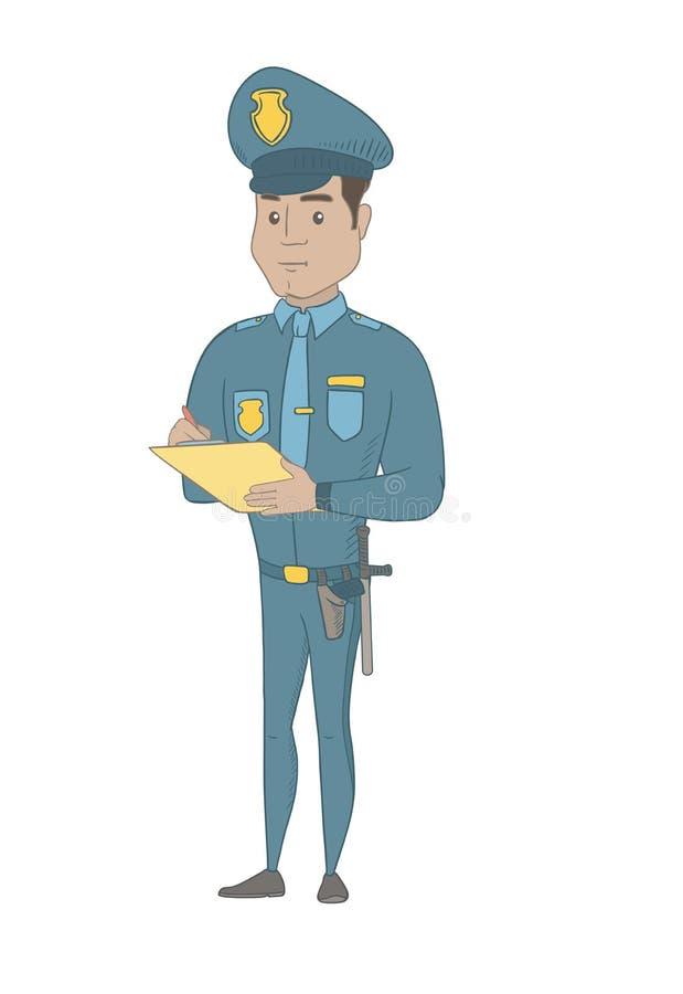Νέος ισπανικός αστυνομικός κυκλοφορίας που γράφει το λεπτό λογαριασμό διανυσματική απεικόνιση